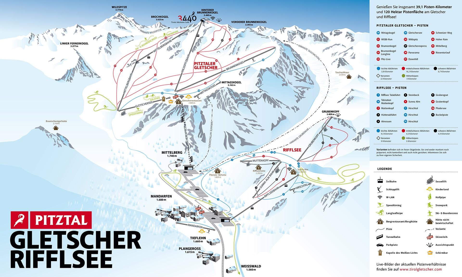 Pistenplan Pitztaler Gletscher