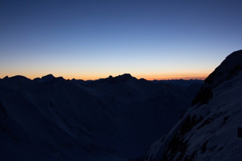 sunset at Pitztal Glacier