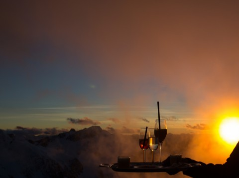 romantical sunset on 3440 meters