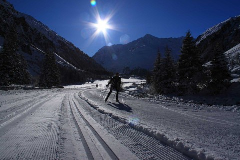 Cross-country tracks in Pitztal in valley