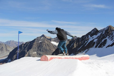 Jumps and Tricks in the Snow Park at Pitztal Glacier