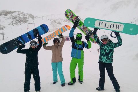 Snowboarding at Pitztal Glacier