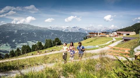 family hike at Zirben Park Hochzeiger