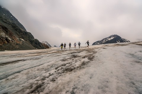 Crossing a glacier whilst trail running in Pitztal