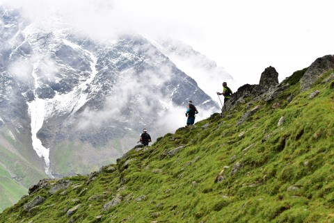 Trail running in majestic Pitztal mountain scenery