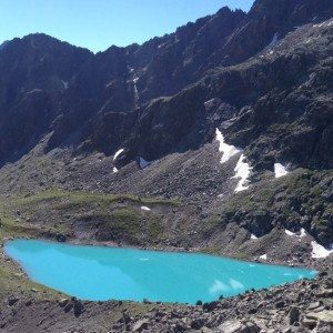 The turquoise colored Mittelberglesee in the Pitztal