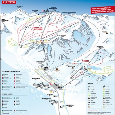 Übersichtskarte Pitztaler Gletscher und Rifflsee