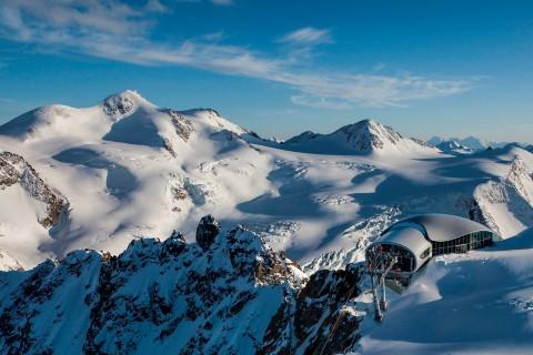 View of Wildspitzbahn Station and Wildspitze Peak